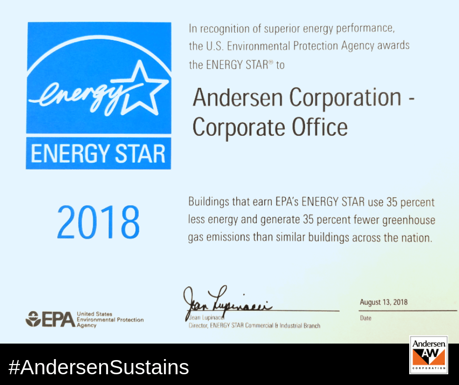 Proud to be receive the ENERGY STAR award in recognition of the energy performance of our MN Corporate Office.