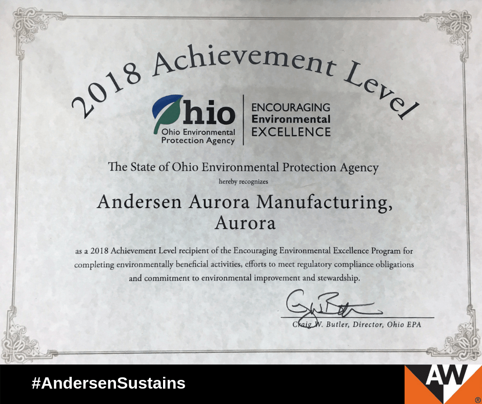 Andersen's Aurora Facility Earns Recognition from Ohio EPA