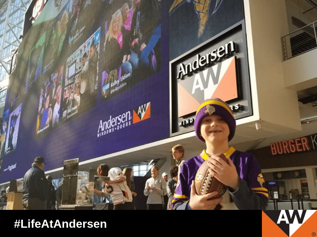 More than 30 children and their parents won a drawing to participate in the Minnesota Football Showcase, presented by Andersen.