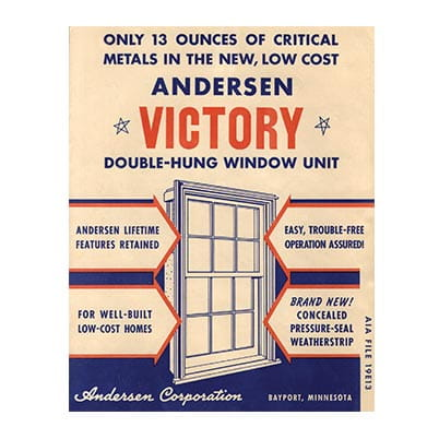 During World War II, Andersen redesigned its Narroline® double-hung window to eliminate 97 percent of critical materials needed for the war effort. It was aptly named the Victory window.