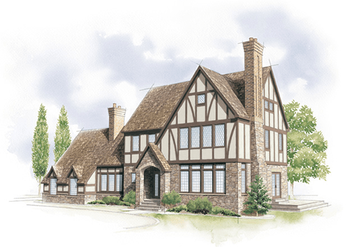 tudor home style illustration