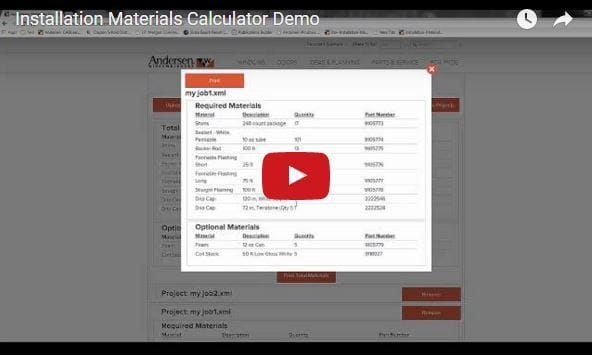 Installation Materials Calculator for Andersen Windows and Doors