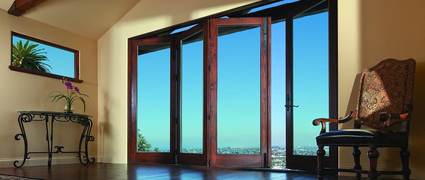 Folding outswing doors andersen windows for Full glass patio door