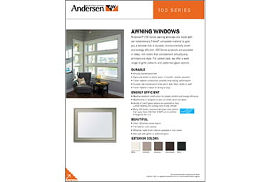 Quick info sheet 100 series awning windows