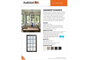 quick info sheet 100 series casement window
