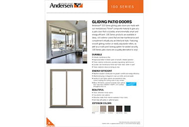 quick info sheet 100 series gliding patio door
