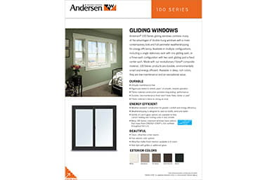 Quick info sheet 100 series gliding windows