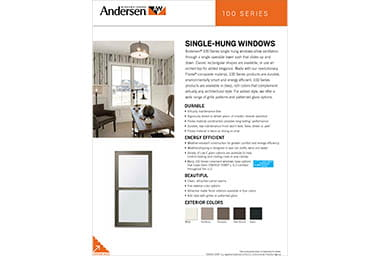 Quick info sheet 100 series single-hung windows