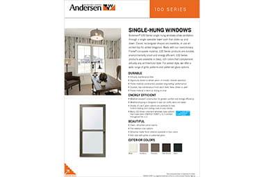 Quick info sheet 100 series single-hung windows