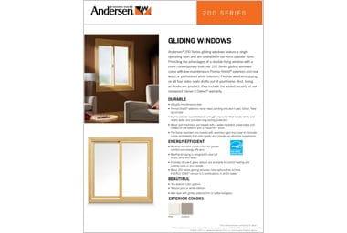 quick info sheet 200 series gliding window