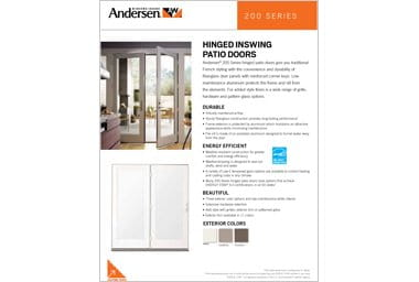 quick info sheet 200 series hinged patio door