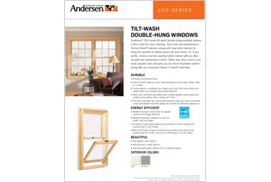 quick info sheet 200 series hung window