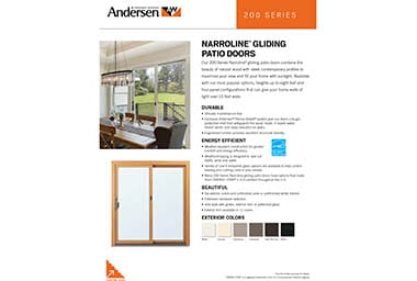 quick info sheet 200 series gliding narroline patio door