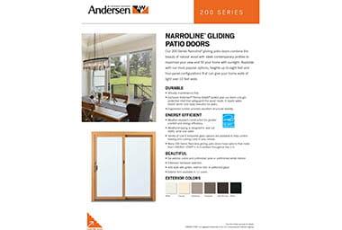 quick info sheet 200 series gliding narroline patio door