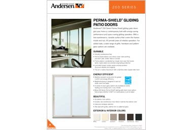 quick info sheet 200 series gliding permashield patio door