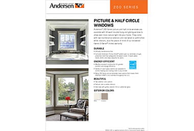 quick info sheet 200 series picture window