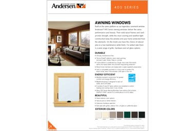 quick info sheet 400 series awning window