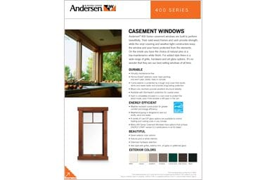 quick info sheet 400 series casement window