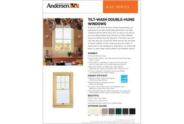 quick info sheet 400 series  double-hung window