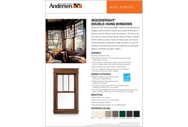 quick info sheet 400 series woodwright double-hung window