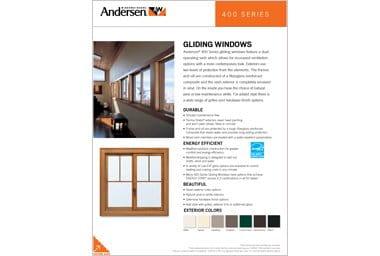 quick info sheet 400 series gliding window