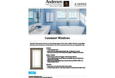quick info sheet a-series casement window