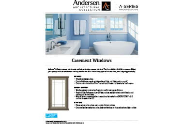 quick info sheet a-series casement window