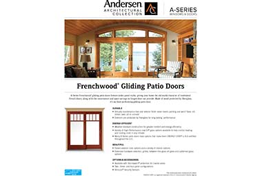 quick info sheet a-series gliding patio door