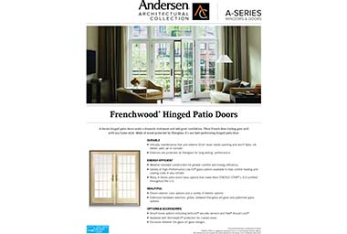 quick info sheet a-series hinged patio door