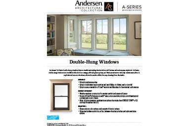 quick info sheet a-series double-hung window