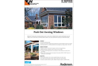 quick info sheet e-series push out awning window