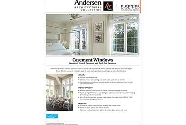 quick info sheet e-series casement window