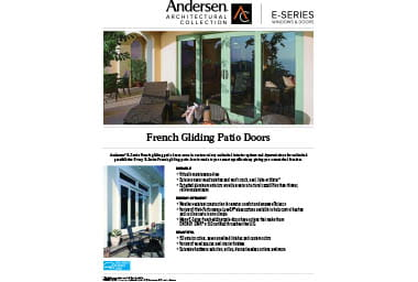 quick info sheet e-series french gliding patio door