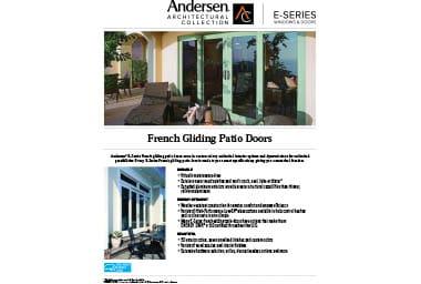 quick info sheet e-series french gliding patio door