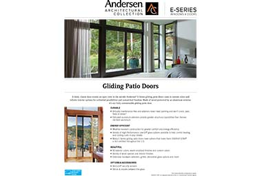 quick info sheet e-series gliding patio door