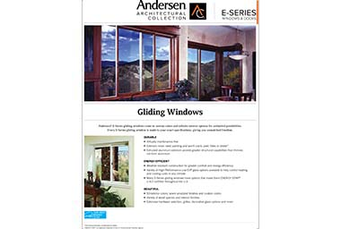 quick info sheet e-series gliding window