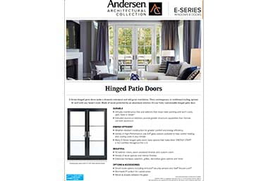 quick info sheet e-series hinged patio door