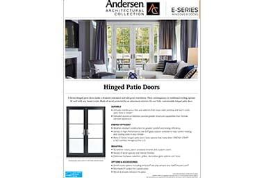 quick info sheet e-series hinged patio door