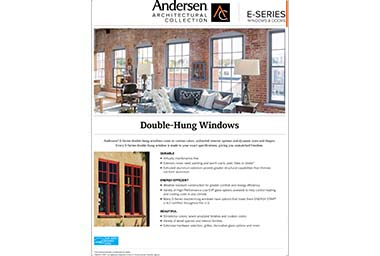 quick info sheet e-series hung window