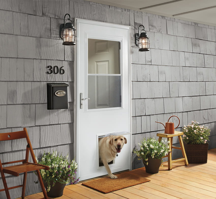 Superbe ½ Light Panel Ventilating Storm Door With Pet Door