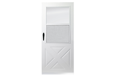 Partial light half ventilation storm doors