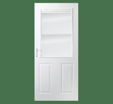 Partial light half ventilation storm doors