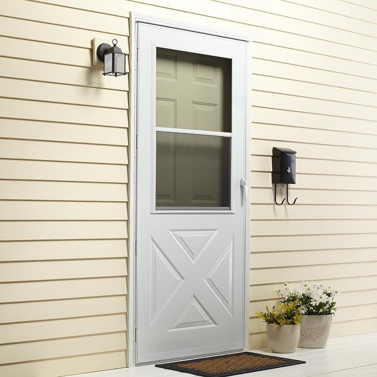 easy self storing crossbuck storm doors