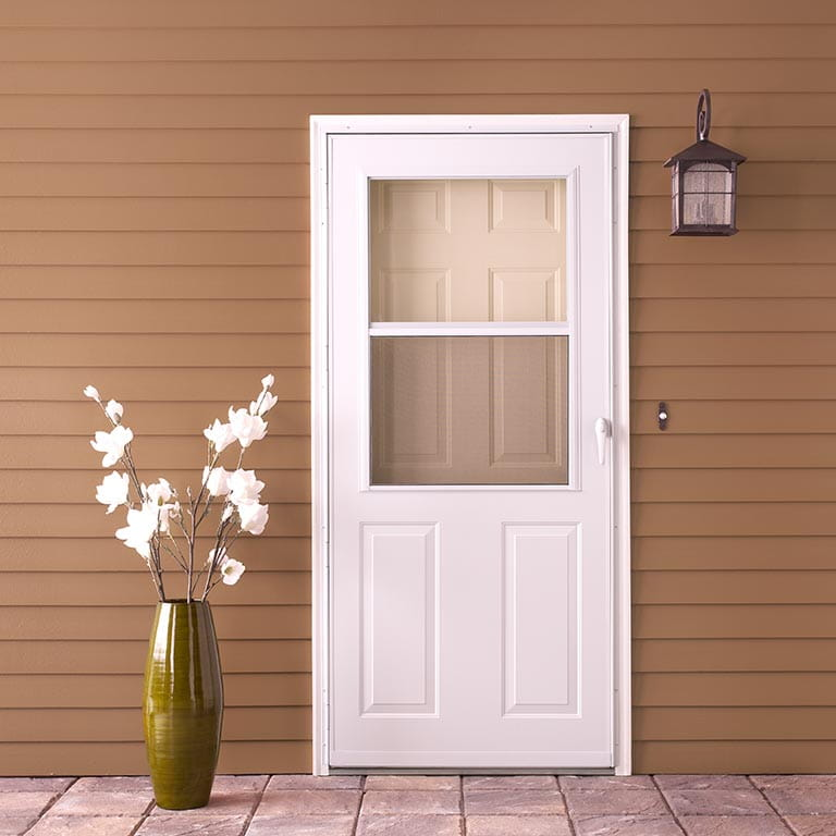 easy self storing traditional storm doors