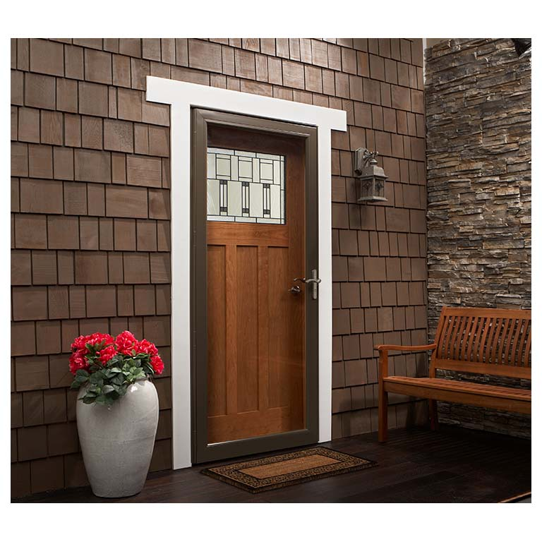 Top line self storing storm door andersen emco 400 series for Double storm doors