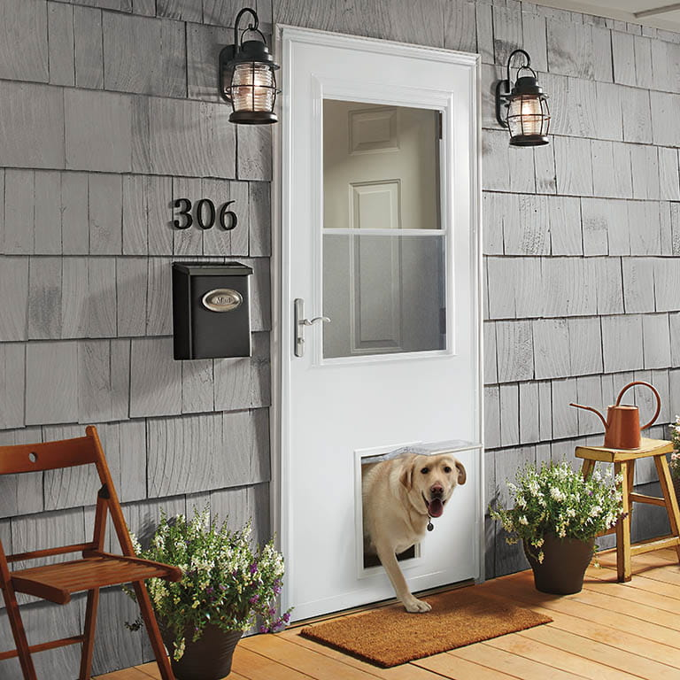 k900 plus storm door with pet entry system