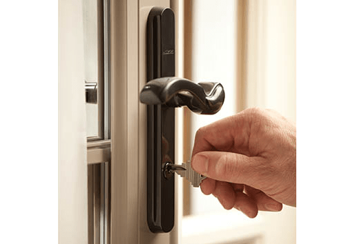storm door with keyed deadbolt lock